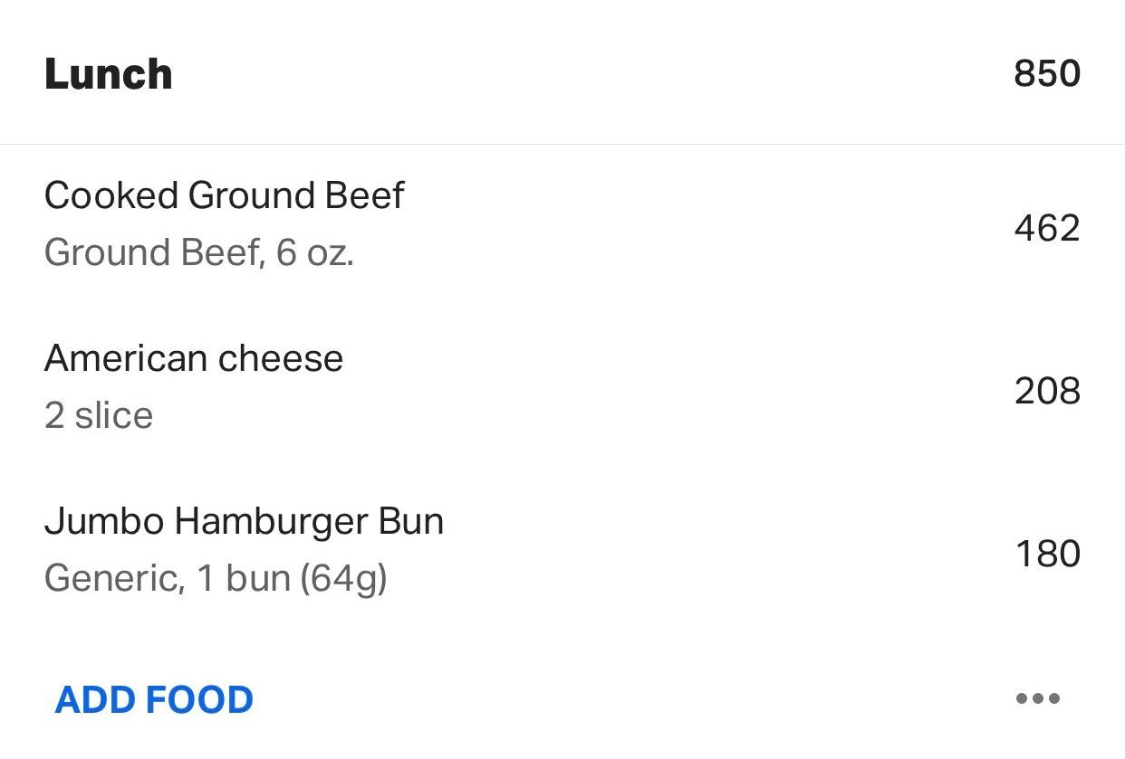 MyFitnessPal burger log