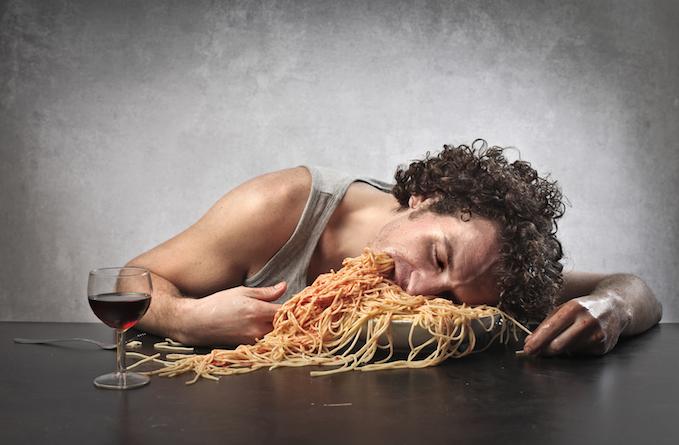 guy overeating