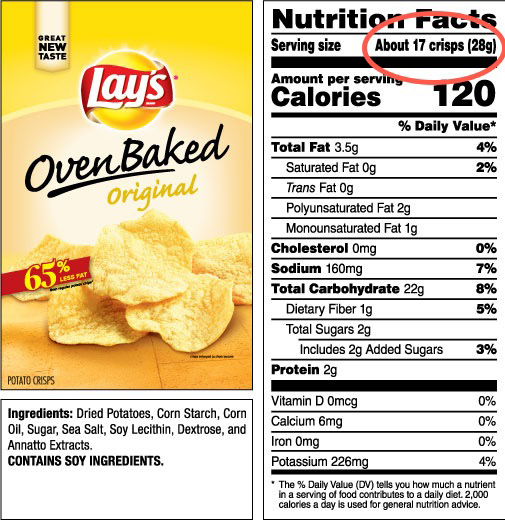 lays chips nutrition label