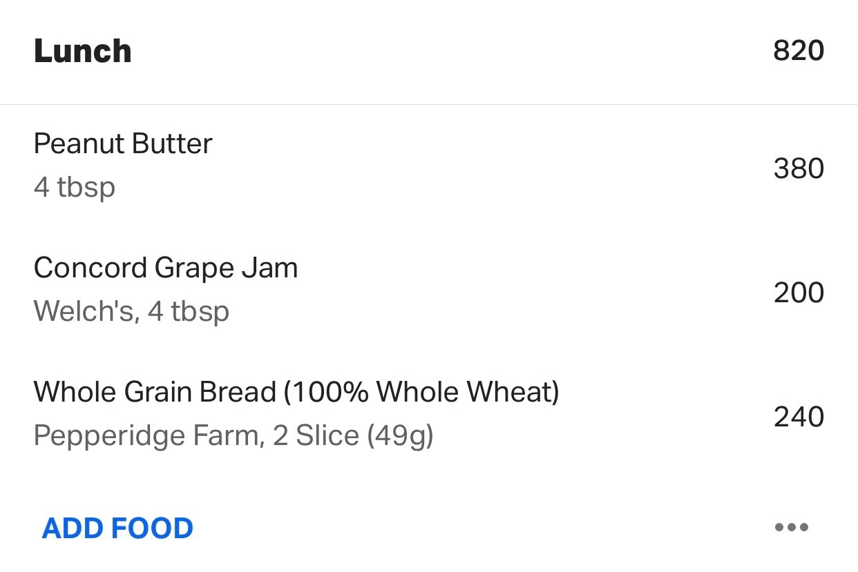 MyFitnessPal peanut butter and jelly