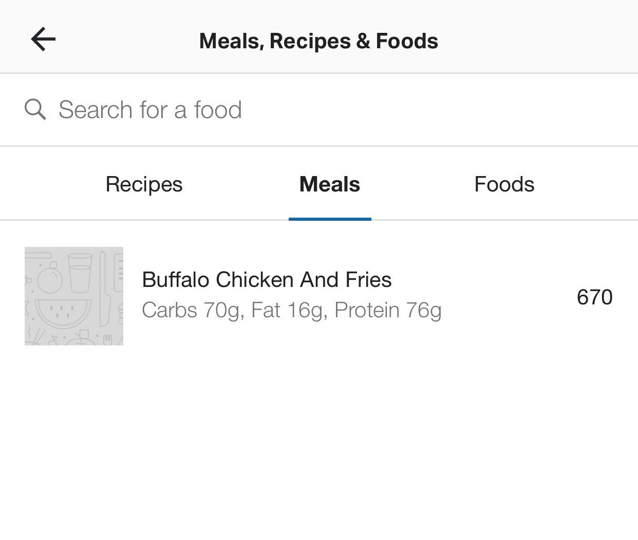 MyFitnessPal saved meals